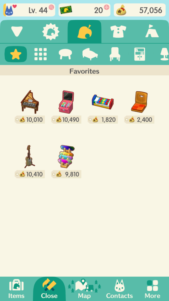 AC inventory favorites